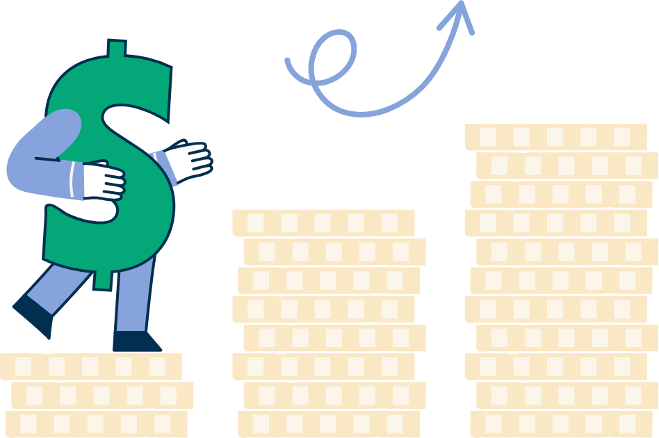 Illustration of three piles of coins with a dollar sign climbing up the piles like a set of stairs, with an arrow pointing up in the direction the dollar sign is climbing