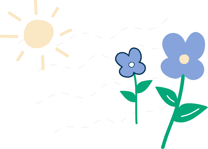 Illustration of flowers and a sun.