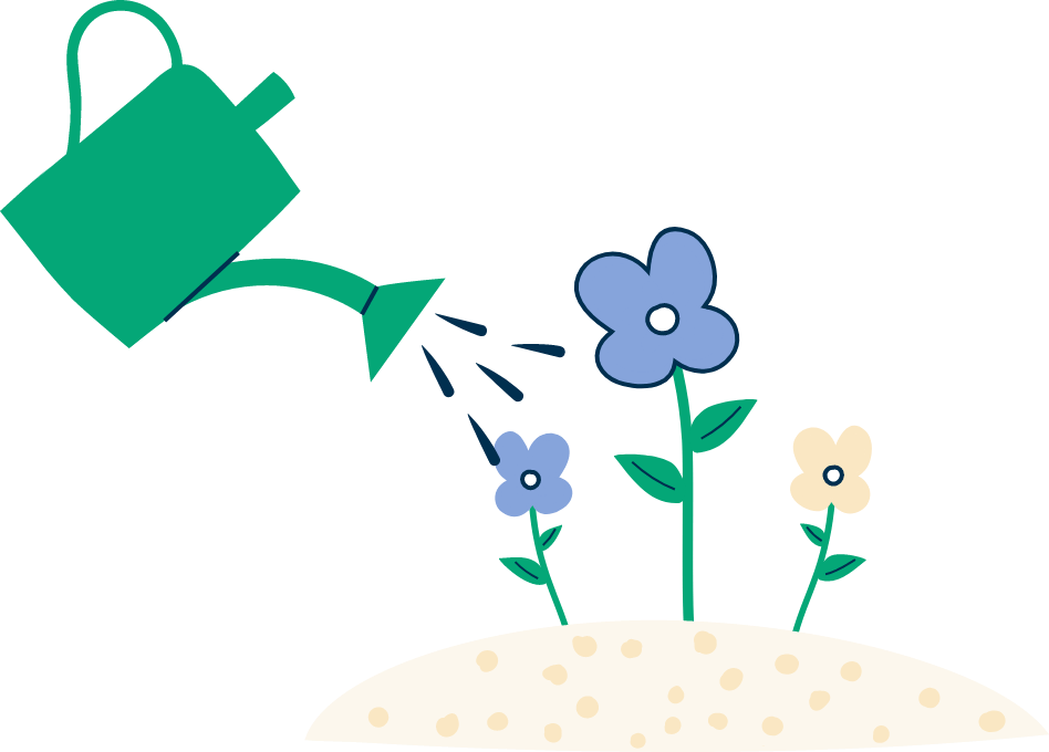 Illustration of flowers being watered by a watering can with three water droplets coming out of the spout