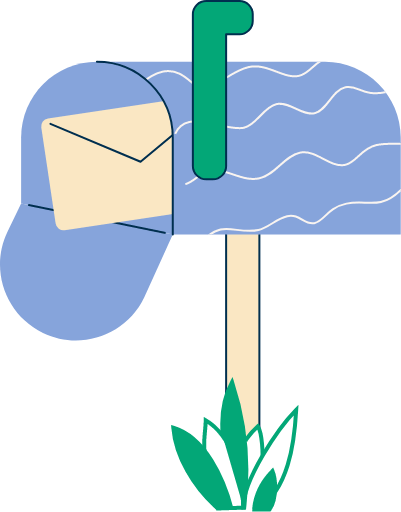 Illustration of a letterbox with an envelope inside and some grass at the bottom.