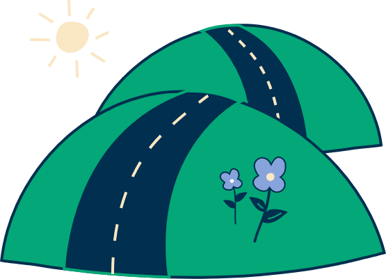 Illustration of two hills with a road over them, with some flowers on the hill and a sun in the background.